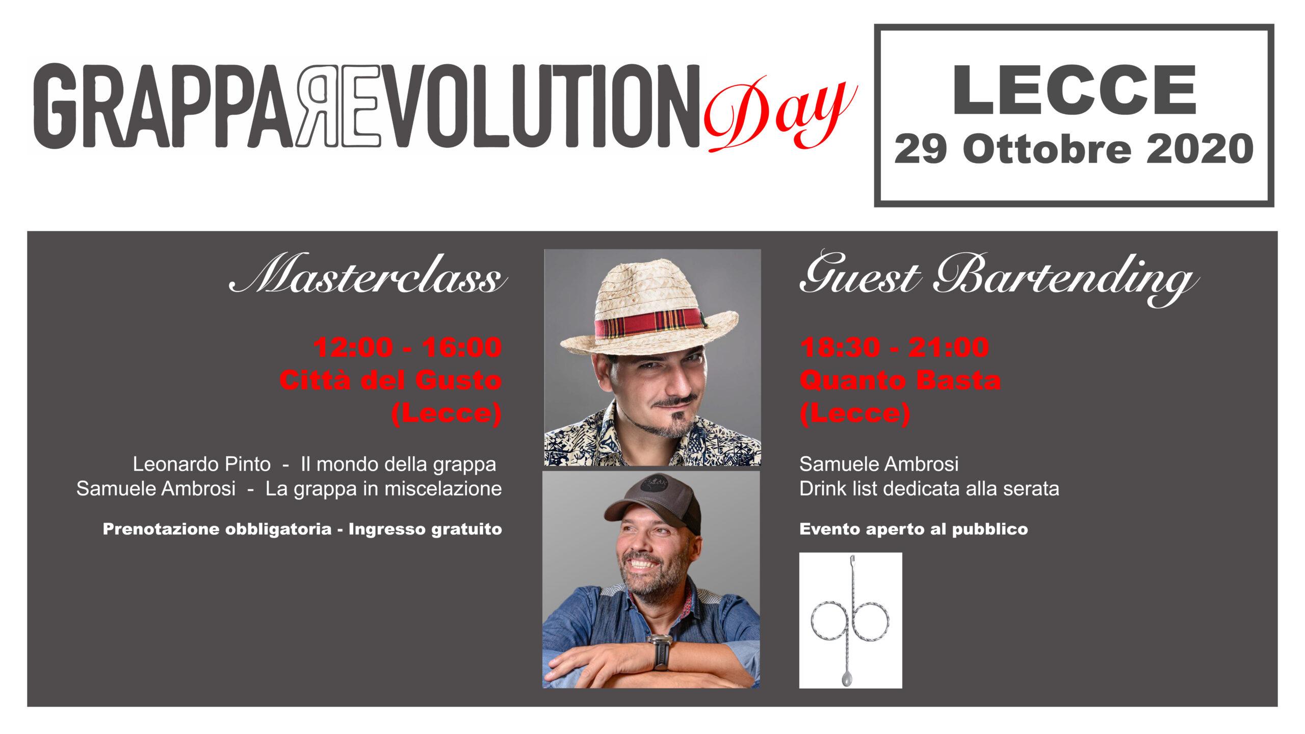 GrappaRevolution Day, Lecce, 29 ottobre 2020. Masterclass, tasting, mixing grappa. Cocktails. Samuele Ambrosi, Leonardo Pinto